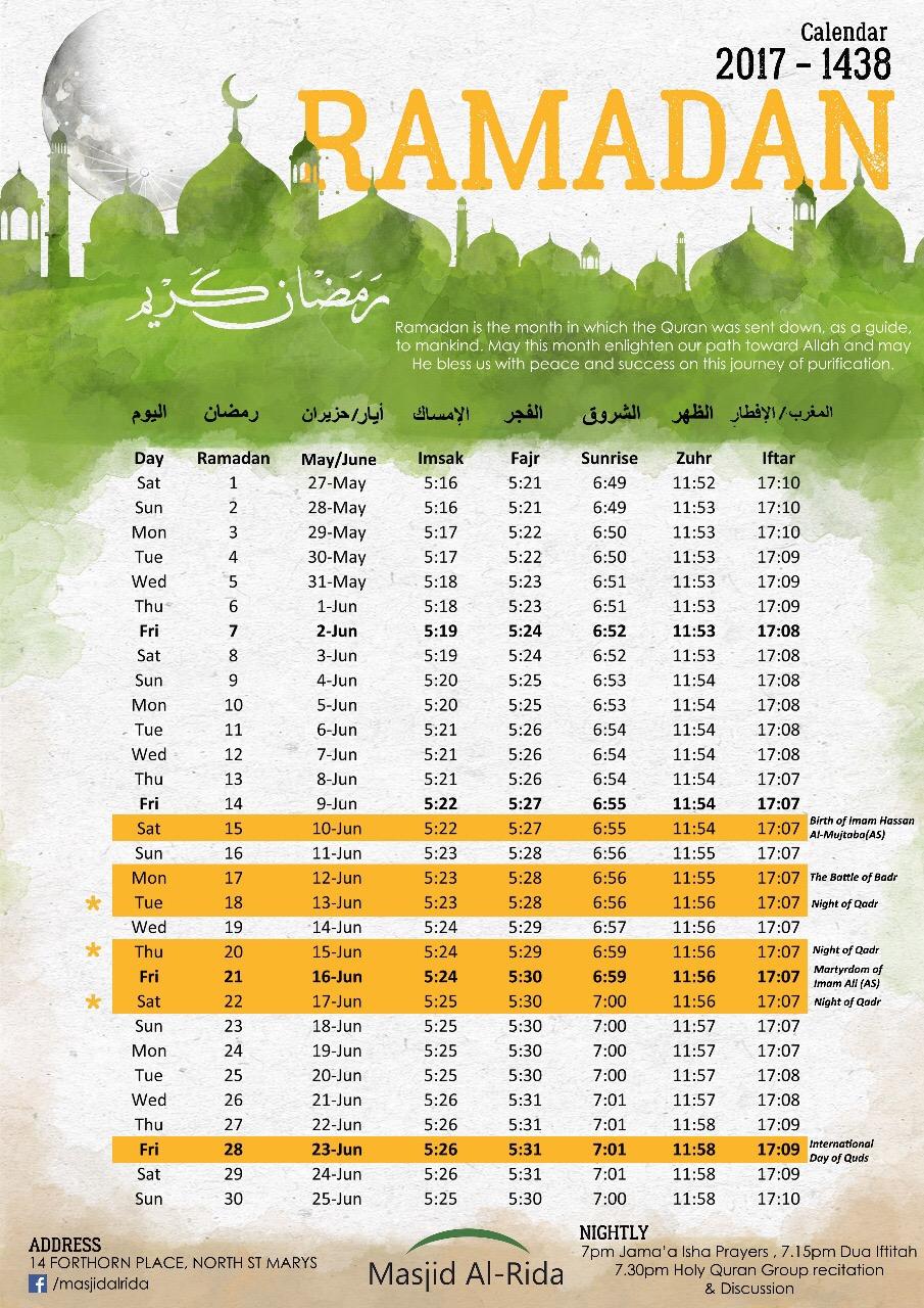 Ramadan 2017 Sydney Calendar